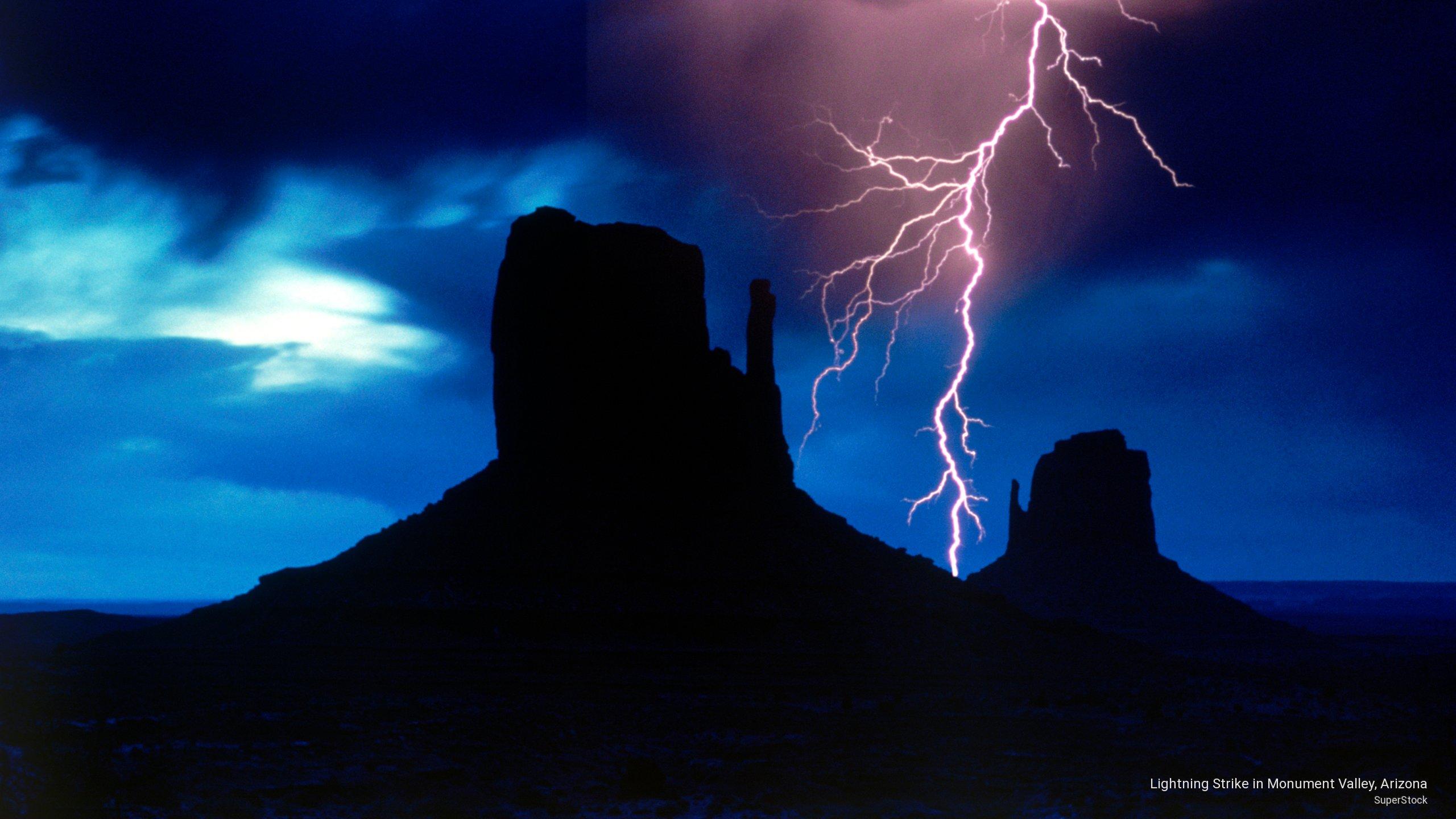 Lightning Strike in Monument Valley, Arizona