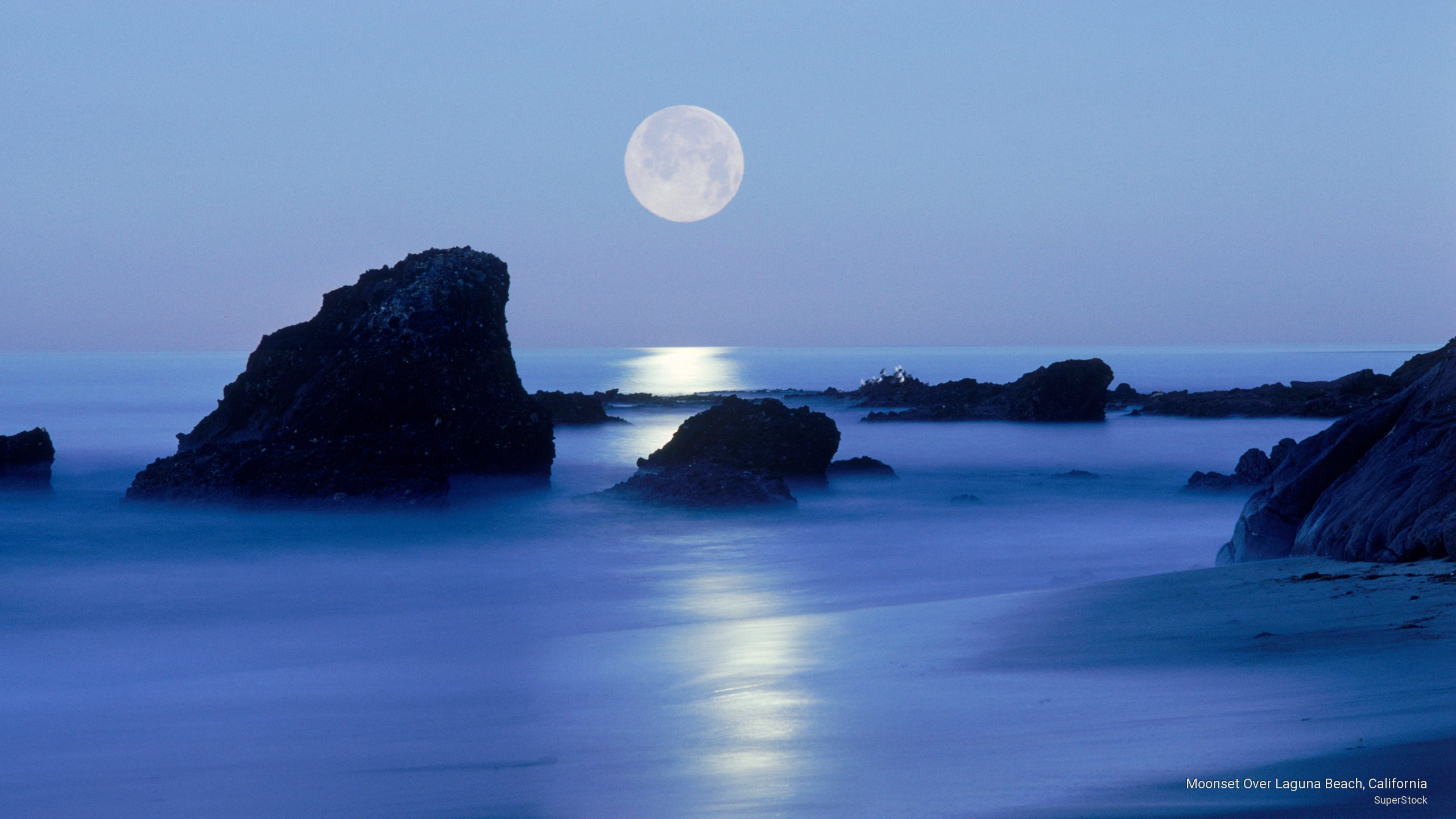 Moonset Over Laguna Beach, California