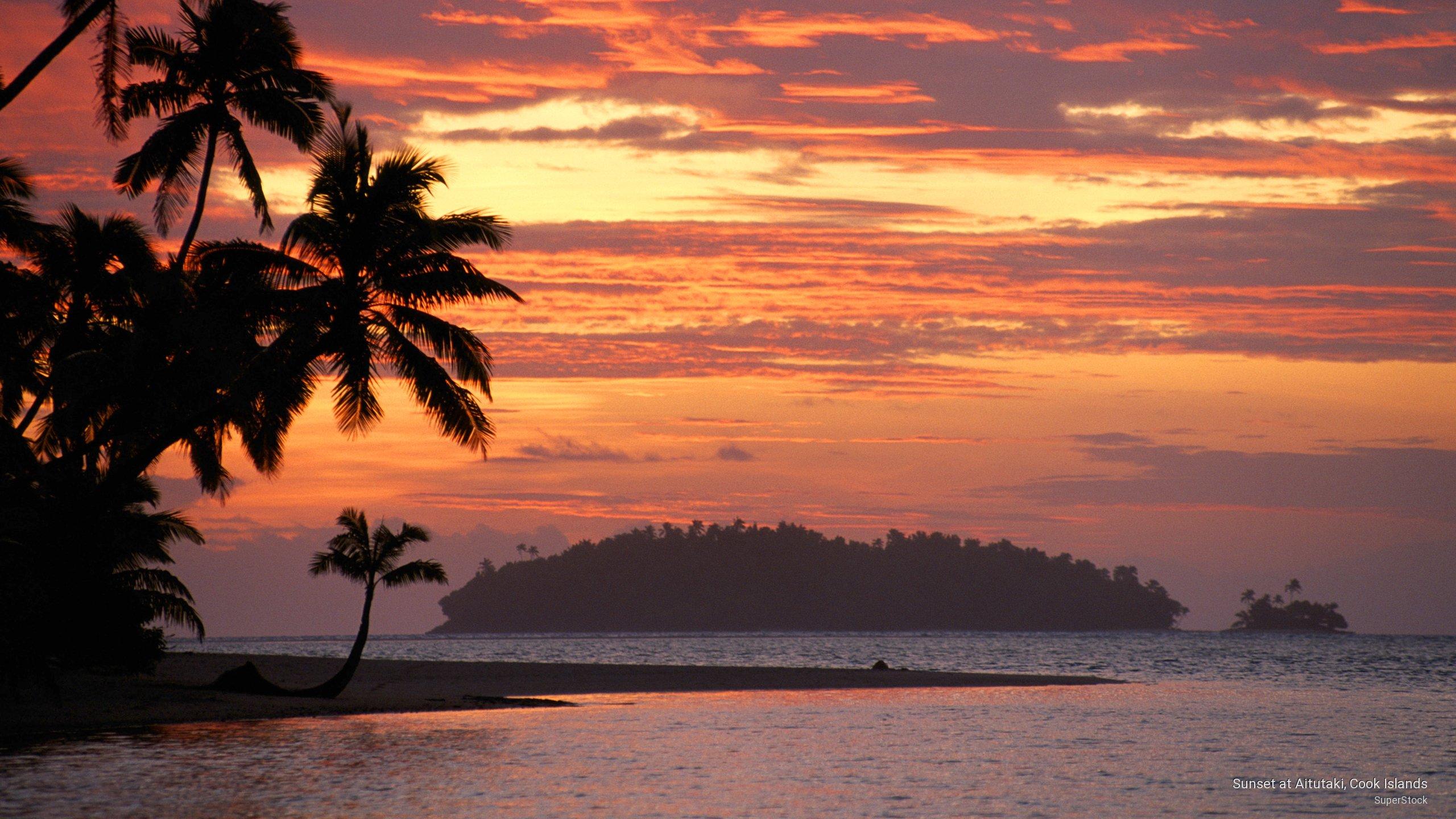 Sunset at Aitutaki, Cook Islands